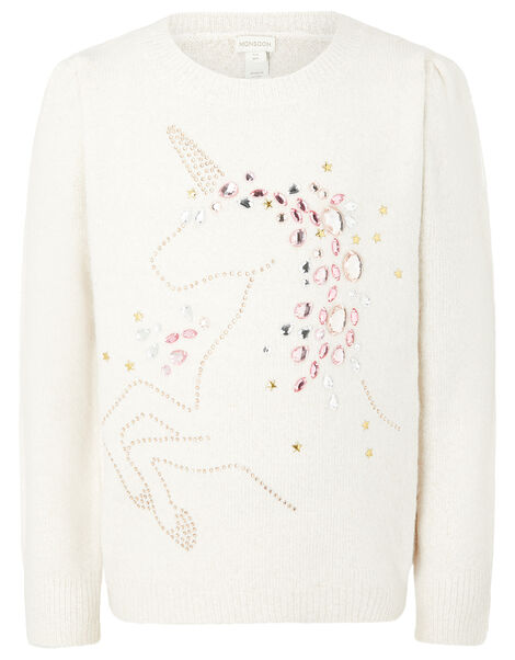 Embellished Unicorn Knit Jumper Ivory, Ivory (IVORY), large