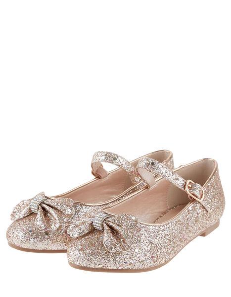 Glitter Scallop Bow Ballerina Flats Gold, Gold (ROSE GOLD), large
