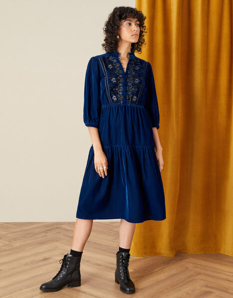 Military Embroidered Velvet Dress Blue, Blue (BLUE), large