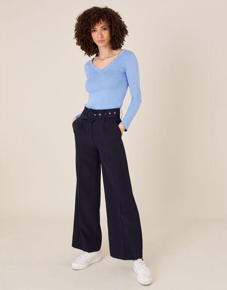 Circle Belt Wide Leg Trousers Blue, Blue (NAVY), large