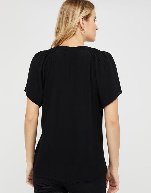 Arabella Short Sleeved Blouse, Black (BLACK), large