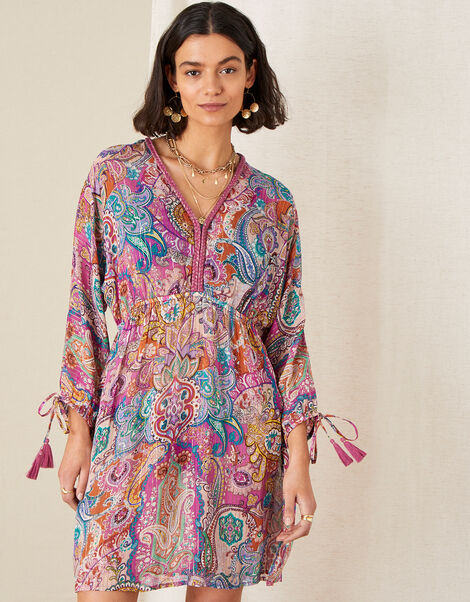 Paisley Print Kaftan Dress Pink, Pink (PINK), large