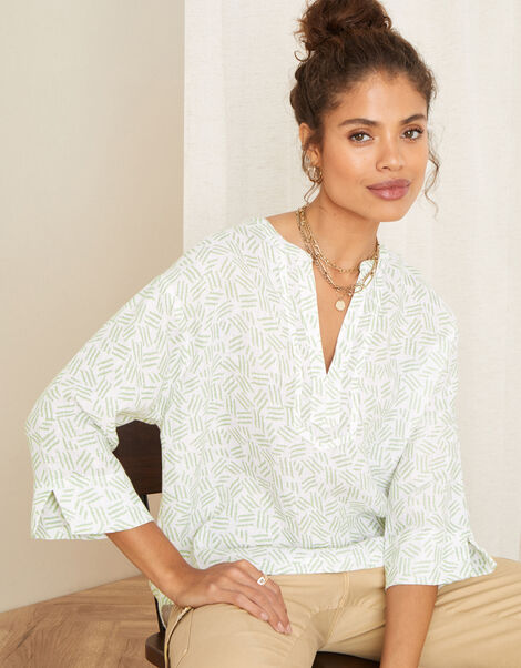 Printed Top in Pure Linen Ivory, Ivory (IVORY), large
