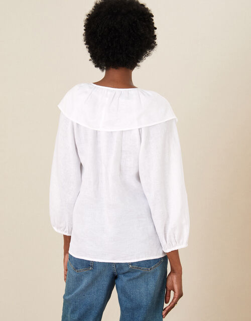 Frill Neck Top in Linen Gauze, Ivory (IVORY), large