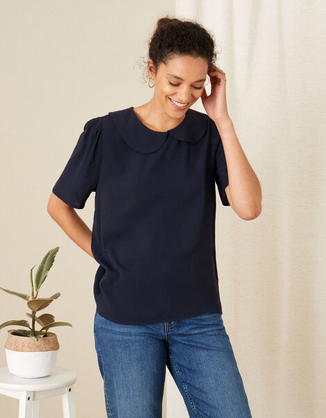 Collared Short Sleeve Top Blue, Blue (NAVY), large
