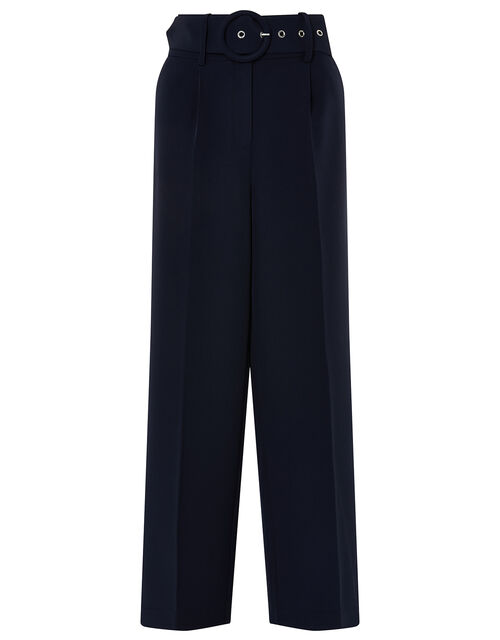 Circle Belt Wide Leg Trousers, Blue (NAVY), large