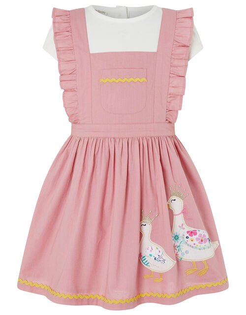 Baby Nellie Duck Pinafore and T-shirt Set, Pink (PINK), large