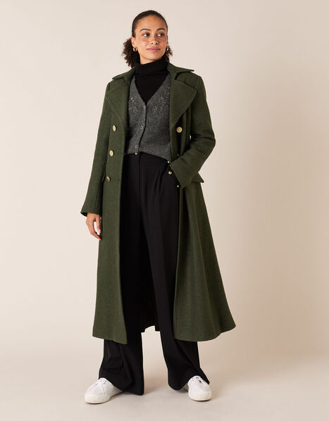 Long Military Coat in Wool Blend Green, Green (KHAKI), large