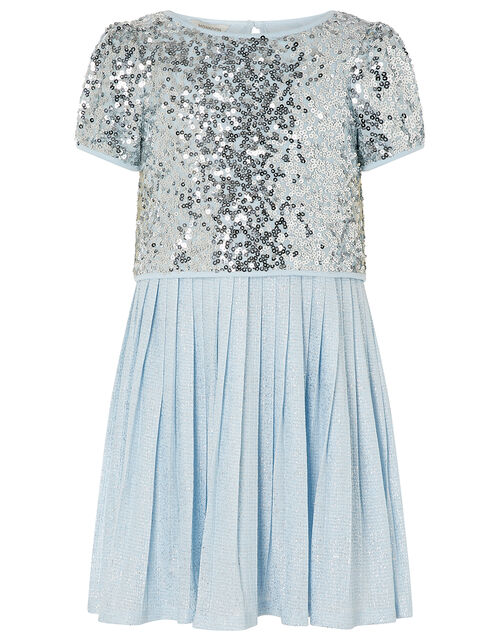Sequin Top and Pleated Dress 2-in-1 Set, Silver (SILVER), large
