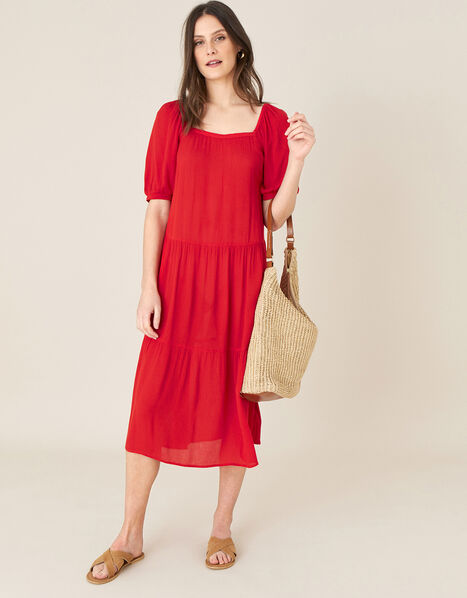 Square Neck Midi Dress in LENZING™ ECOVERO™ Red, Red (RED), large