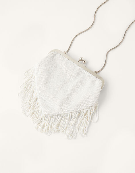 Fringed Beaded Bridal Clutch Bag, , large