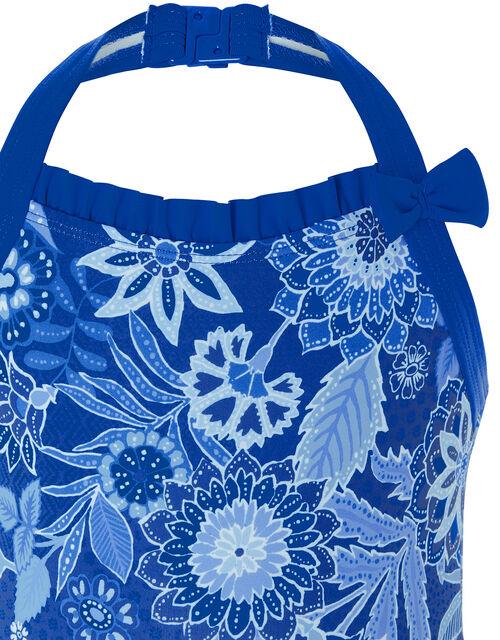 Flower Print Halter Swimsuit, Blue (BLUE), large