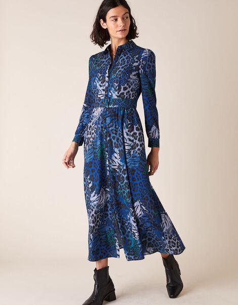Andrea Animal Print Shirt Dress Blue, Blue (COBALT), large