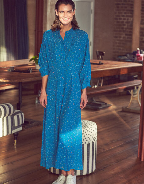 Floral Print Midi Dress Blue, Blue (BLUE), large
