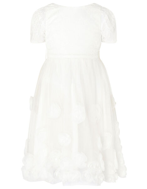 3D Roses Communion Dress White, White (WHITE), large