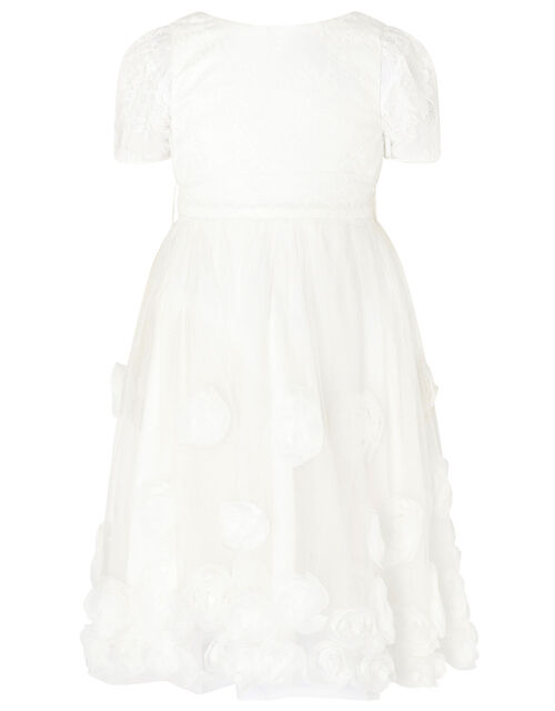3D Roses Communion Dress, White (WHITE), large
