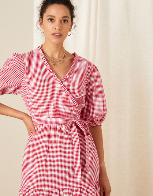 Gingham Wrap Dress, Red (RED), large