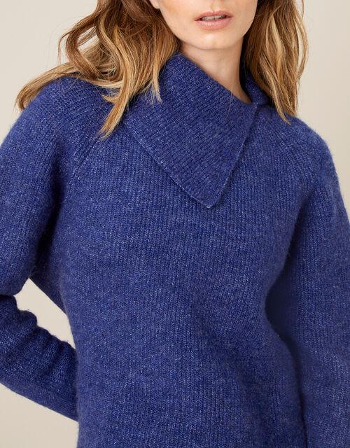 LOUNGE Split Neck Knit Jumper , Blue (COBALT), large