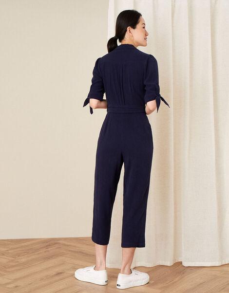 Plain Collared Jumpsuit Blue, Blue (NAVY), large