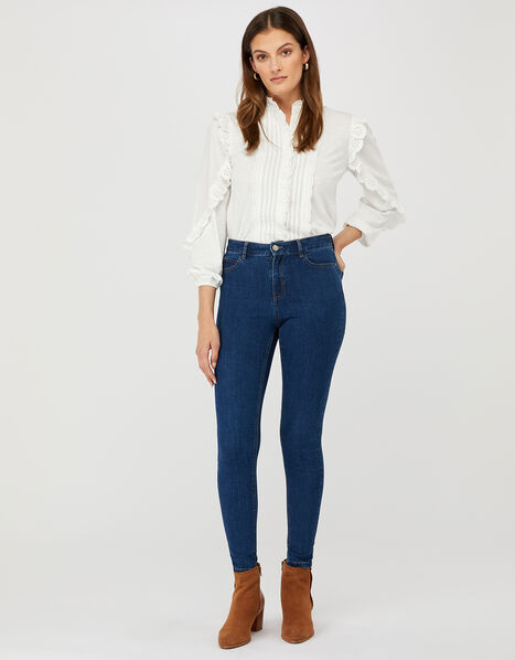 Iris Short Length Jeans with Organic Cotton and Recycled Polyester Blue, Blue (DENIM BLUE), large