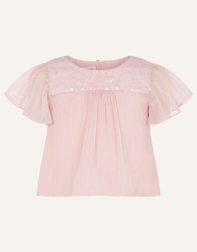 Princessa Sequin Yoke Chiffon Top  Pink, Pink (DUSKY PINK), large