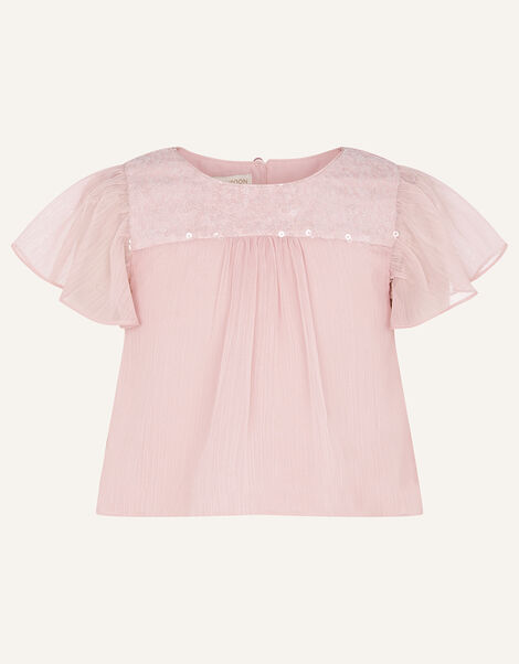 Princessa Sequin Yoke Chiffon Top  Pink, Pink (DUSKY PINK), large