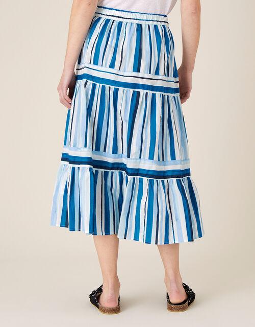 Stripe Print Tiered Skirt, Blue (BLUE), large
