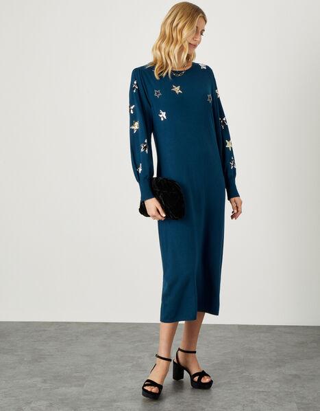 Embellished Sequin Star Dress  Teal, Teal (TEAL), large