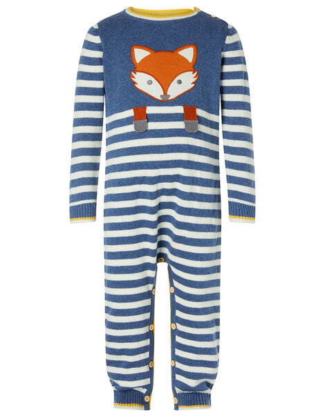 Newborn Baby Fox Sleepsuit in Organic Cotton Blue, Blue (BLUE), large