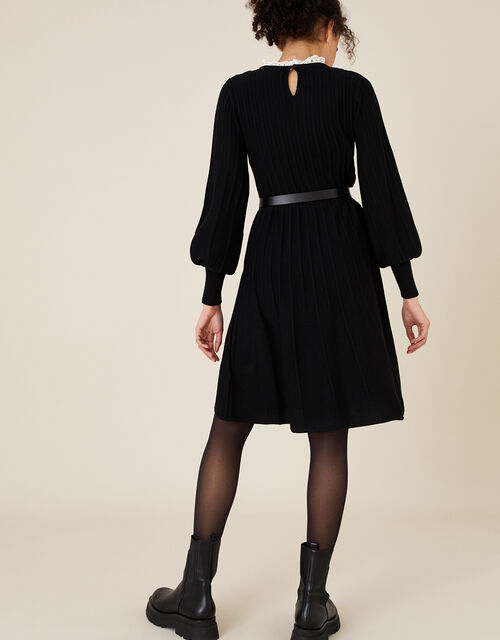 Woven Collar Knit Knee-Length Dress, Black (BLACK), large