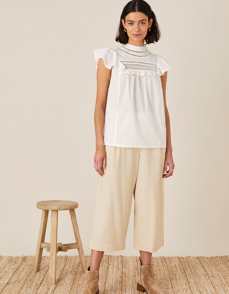 Lace Chest Top in Organic Cotton Ivory, Ivory (IVORY), large
