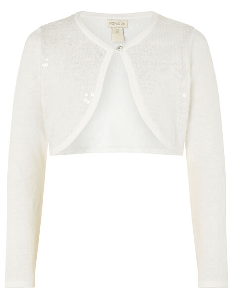 Sequin Crop Cardigan Ivory, Ivory (IVORY), large