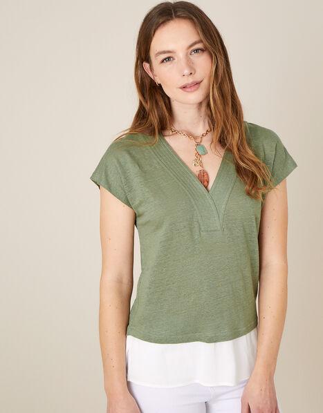 Lenny Woven Mix Top in Linen Blend Green, Green (KHAKI), large