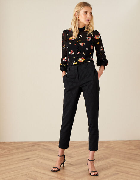 Josie Jacquard Trousers Black, Black (BLACK), large