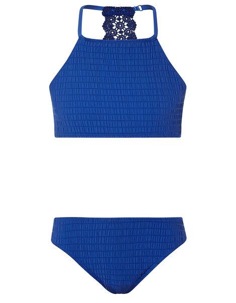 Crochet Insert Shirred Bikini Set Blue, Blue (BLUE), large