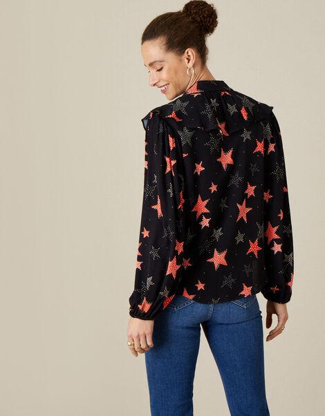 Sabrina Star Print Shirt Black, Black (BLACK), large