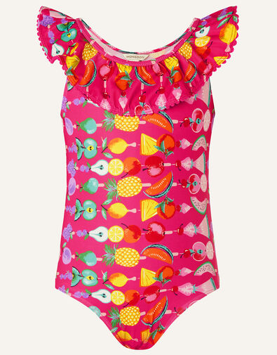 Fruit Print Frill Swimsuit Pink, Pink (BRIGHT PINK), large