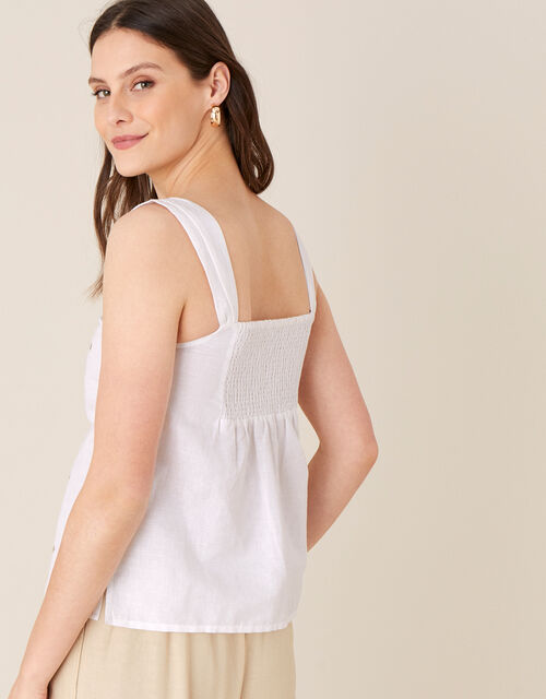 Embellished Cami in Linen Blend, White (WHITE), large