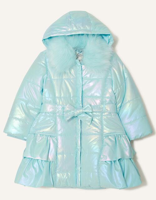 Holographic Frill Hooded Coat, Blue (AQUA), large