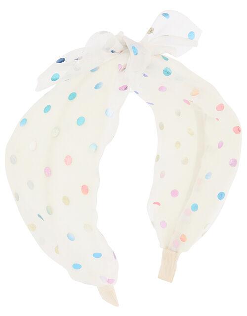 Rainbow Spot Knot Headband, , large