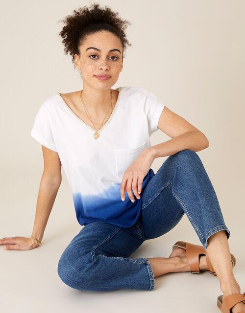 Deea Dip Dye T-Shirt in Organic Cotton, Blue (BLUE), large