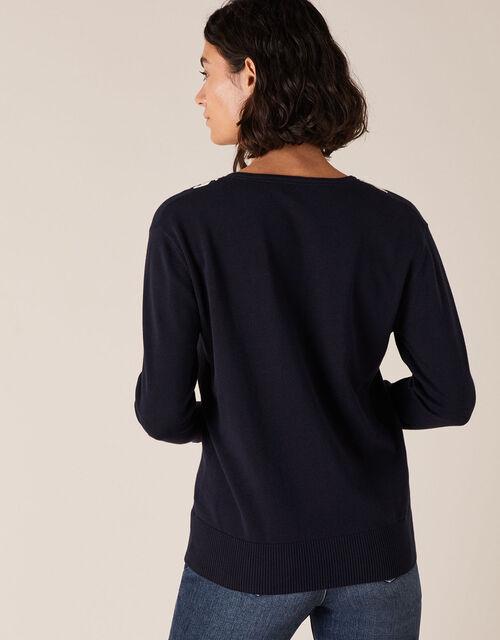Cornelli Trim Dolman Sleeve Knit Jumper, Blue (NAVY), large
