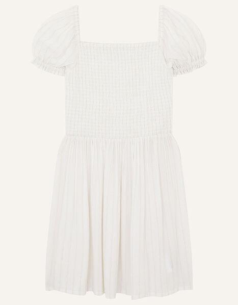Shimmer Puff Sleeve Dress Ivory, Ivory (IVORY), large