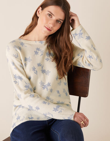 Ellie Floral Slash Neck Jumper Ivory, Ivory (IVORY), large