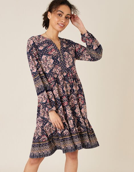 Rowan Heritage Print Dress in Organic Cotton Blue, Blue (NAVY), large