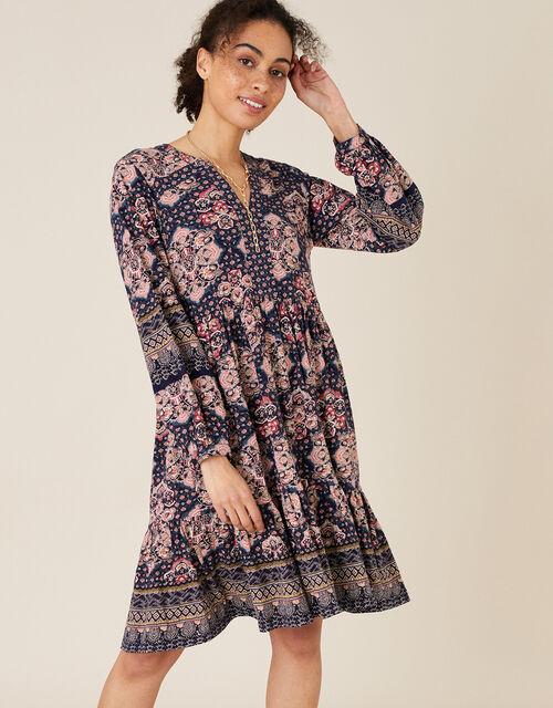 Rowan Heritage Print Dress in Organic Cotton, Blue (NAVY), large