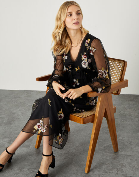 Teri Embroidered Midi Dress in Recycled Polyester Black, Black (BLACK), large