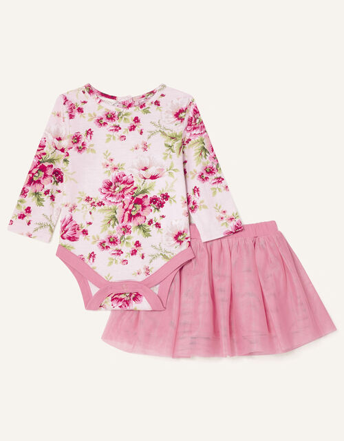 Newborn Floral Bodysuit and Skirt, Pink (PINK), large