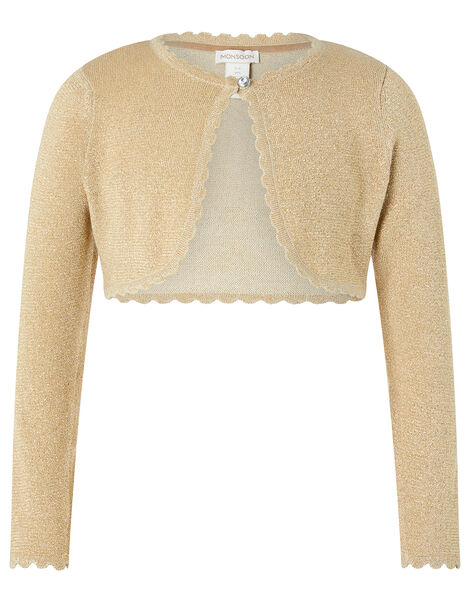 Niamh Sparkle Knitted Cardigan with Crystal Button Gold, Gold (GOLD), large