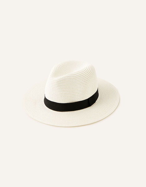 Band Trim Fedora Hat  White, White (WHITE), large